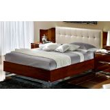 ESF Furniture Matrix Queen Maxi Quadri Platform Bed w/ White Headboard in Dark Walnut