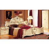 ESF Furniture Barocco King Leather Panel Bed in Ivory