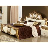 ESF Furniture Barocco Queen Leather Panel Bed in Ivory w/ Gold