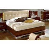 ESF Furniture Matrix  King Boiserie Maxi Platform Bed w/ Beige Headboard in Dark Walnut