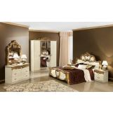 ESF Furniture Barocco 4-Piece Panel Bedroom Set in Ivory w/ Gold