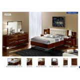ESF Furniture Matrix (Comp 8) 4-Piece Maxi Quadri Platform Bedroom Set in Dark Walnut