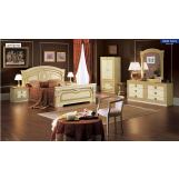 ESF Furniture Aida 4-Piece Panel Bedroom Set in Ivory w/ Gold