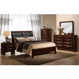 Global Furniture Celia 4-Piece Panel Bedroom Set in Merlot