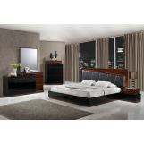 Global Furniture Lexi 4-Piece Upholstered Bedroom Set in Black/Wenge