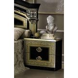 ESF Furniture Aida 2 Drawer Nightstand in Black w/ Gold