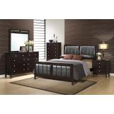 Global Furniture Rosa 5-Piece Panel Bedroom Set in Antique Black