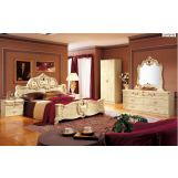 ESF Furniture Barocco 4-Piece Panel Bedroom Set in Ivory