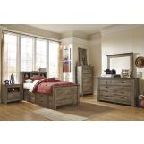 Trinell 4-Piece Bookcase with Underbed Storage Bedroom Set in Warm Rustic Oak