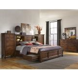 Intercon Furniture Wolf Creek 5-Piece Bookcase Bedroom Set with Storage in Vintage Acacia