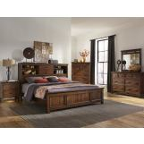 Intercon Furniture Wolf Creek 4-Piece Bookcase Bedroom Set in Vintage Acacia