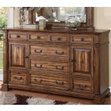 Legends Furniture Barclay 9 Drawer and 2 Door Dresser in Rustic Acacia ZBCL-7013
