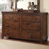 Legends Furniture Restoration 6 Drawer Dresser in Rustic Walnut ZRST-7013