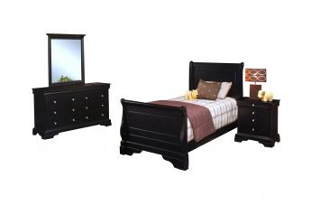 New Classic Belle Rose Youth Sleigh Bedroom Set  in Bordeaux Finish 00-013