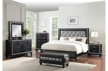 New Classic Furniture Kanti 4pc Panel Bedroom Set in Black Pearl PROMO