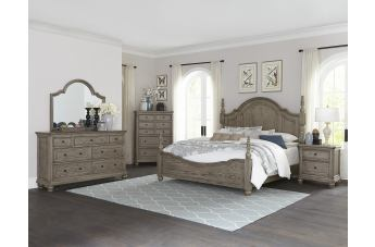 Homelegance Lavonia 4pc Poster Bedroom Set in Gray