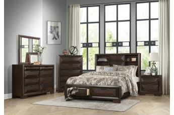 Homelegance Chesky 4pc Bookcase Bedroom Set with Footboard Storage in Warm Espresso