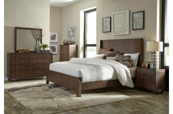 Homelegance Gulfton 4pc Panel Bedroom Set in Walnut