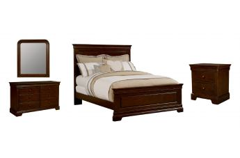 Stone & Leigh Teaberry Lane 4-Piece Panel Bedroom Set in Midnight Cherry