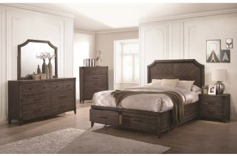 Coaster Furniture Richmond 4-Piece Storage Platform Bedroom Set in Dark Grey Oak