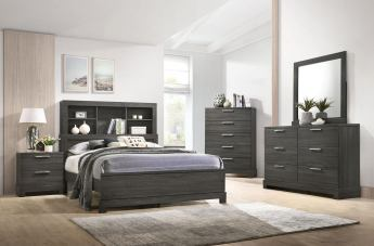 Acme Furniture Lantha 4pc Bookcase Panel  Bedroom Set in Grey Oak