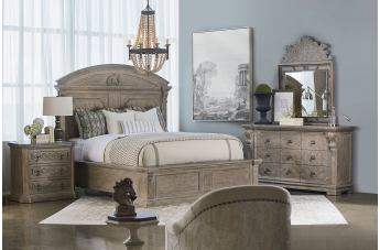 A.R.T Arch Salvage 4pc Chambers Panel Bedroom Set in Parchment