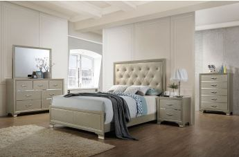 Acme Furniture Carine 4pc Panel Bedroom Set in PU and Champagne