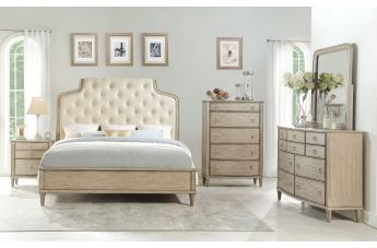 Acme Furniture Wynsor 4pc Panel Bedroom Set in Antique Champagne
