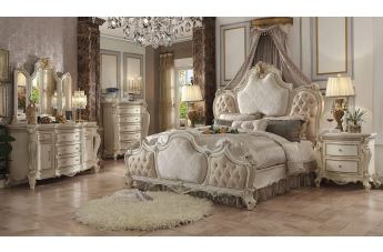 Acme Picardy 4pc Upholstered Bedroom Set In Antique White