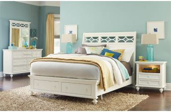 American Drew Lynn Haven 4-Piece Sleigh with Storage Bedroom Set in Dover White