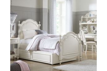 Legacy Classic Kids Harmony Summerset Low Post Bedroom 5pc Set in Antique Linen White CODE:UNIV20 for 20% Off