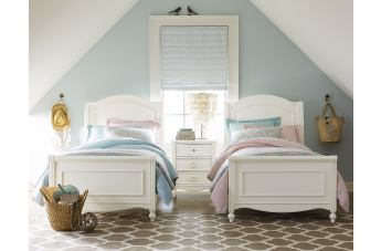Legacy Classic Kids Harmony 4 Piece Chelsea Sleigh Bedroom Set in Antique Linen White CODE:UNIV20 for 20% Off