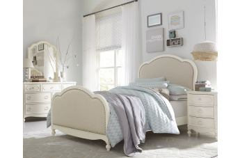 Legacy Classic Kids Harmony 4 Piece Victoria Upholstered Panel Bedroom Set in Antique Linen White CODE:UNIV20 for 20% Off