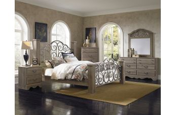 Standard Furniture Timber Creek 4-Piece Metal Estate Bedroom Set in Weathered Taupe