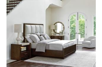 Lexington Laurel Canyon 4 Piece Casa Del Mar Upholstered Bedroom Set In  Mocha