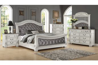 Oasis Home Bianca 4pc Sleigh Upholstered Bedroom Set in Creamy Bisque