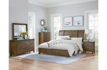 Standard Furniture Nelson 4-Piece Sleigh Storage Bedroom Set in Rustic Pine