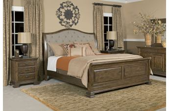 Kincaid Portolone Sleigh Bedroom Set in Rich Truffle