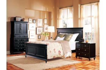 Durham Furniture Savile Row 4-piece Panel Bedroom Set in Antique Black