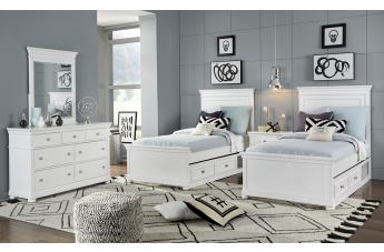 Legacy Classic Kids Canterbury 4pc Panel Bedroom Set in Natural White