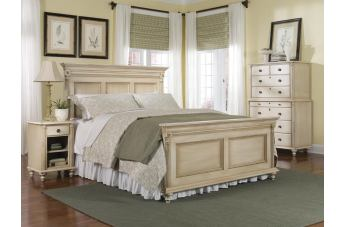 Durham Furniture Savile Row 4-piece Panel Bedroom Set in Antique Cream