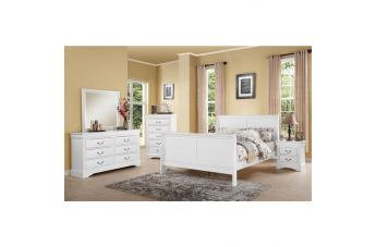 Acme Louis Philippe lll 5pc Panel Bedroom Set in Real White