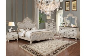 Crown Mark Ashford 4pc Upholstered Arched Bedroom Set in  Weathered White