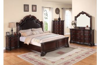 Crown Mark Furniture Sheffield 4pc Upholstered Bedroom Set in Dark Cherry