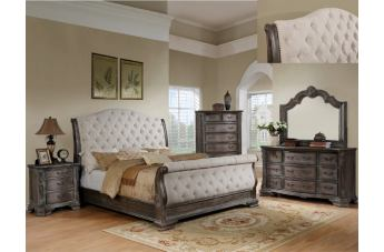 Crown Mark Sheffield 4pc Upholstered Sleigh Bedroom Set in Antique Grey B1120