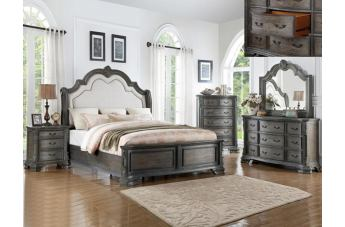 Crown Mark Sheffield 4pc Upholstered Panel Bedroom Set in Antique Grey B1120