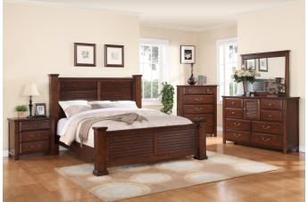 Crown Mark Furniture Norman Bedroom Set in Warm Cherry