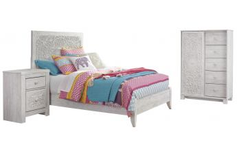Paxberry 3pc Panel Bedroom Set in Whitewash