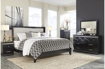 Francee 4-Piece Panel Bedroom Set in Black