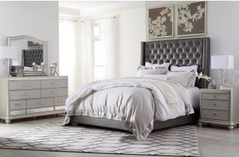 Coralayne 4pc Tufted Upholstered Panel Bedroom Set in Silver